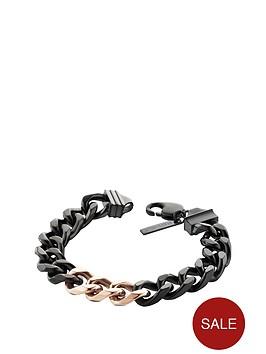 police-hematite-tone-lobster-buckle-chain-curb-chain-bracelet