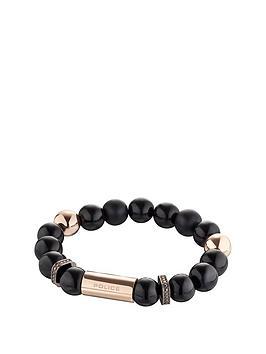 police-two-tone-black-bead-stretch-bracelet