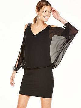 coast-shimmer-cold-shoulder-dress-black