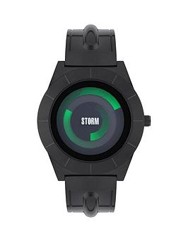 storm-dynamix-slate-black-dial-green-accents-black-strap-mens-watch