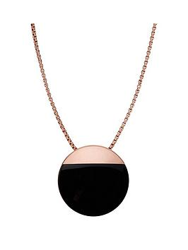 skagen-rose-gold-plated-black-circle-pendant