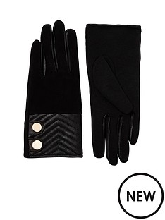 river-island-river-island-quilted-suede-amp-leather-glove