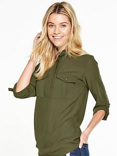 v-by-very-pocket-detail-military-blouse