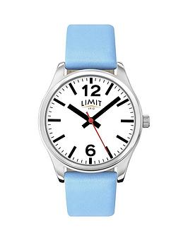 limit-white-dial-baby-blue-leather-strap-ladies-watch