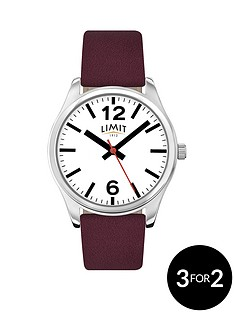 limit-white-dial-bergundy-leather-strap-ladies-watch