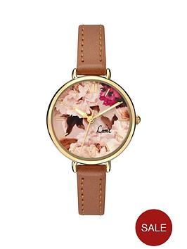 limit-floral-dial-tan-leather-strap-ladies-watch