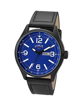 limit-blue-dial-black-leather-strap-mens-watch