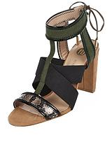 Elastic Cross Over Block Heel Sandal