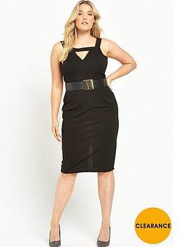 lost-ink-curve-bar-front-pencil-dress-with-belt-black