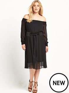 lost-ink-curve-bardot-dress-with-criss-cross-belt-black