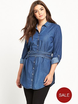 lost-ink-curve-belted-denim-shirt