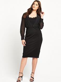 lost-ink-curve-pencil-dress-with-dobby-top