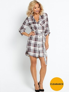 myleene-klass-check-belted-shirt-dress-grey