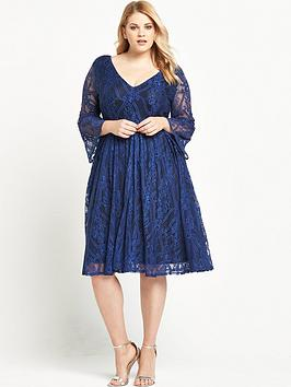 lost-ink-curve-skater-dress-with-lace-bell-sleeve
