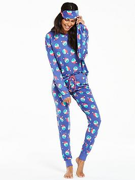 chelsea-peers-chelsea-peers-santa-sprouts-ls-pyjama-and-eye-mask-set