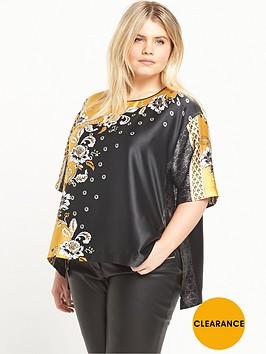 ri-plus-print-woven-t-shirt-black