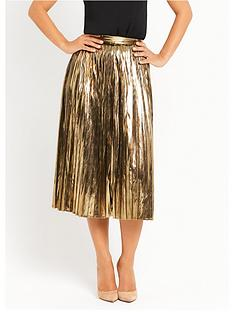 myleene-klass-metallic-pleated-skirt-gold