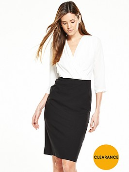 v-by-very-long-sleeve-wrap-front-contrast-pencil-dress