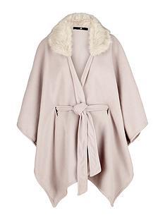v-by-very-fur-trim-belted-fleece-cape