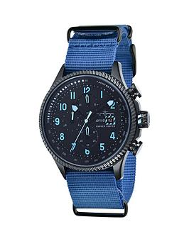 avi-8-avi-8-hawker-hunter-black-dial-black-leather-strap-mens-watch-includes-additional-blue-nato-strap