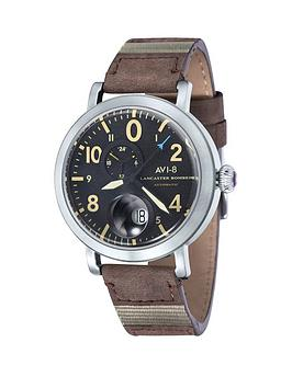 avi-8-avi-8-lancaster-bomber-black-patterned-dial-brown-leather-strap-mens-watch