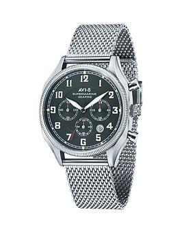 avi-8-avi-8-supermarine-seafire-green-dial-stainless-steel-mesh-bracelet-watch