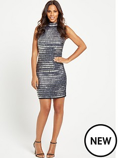 rochelle-humes-embellished-mini-dress-silver