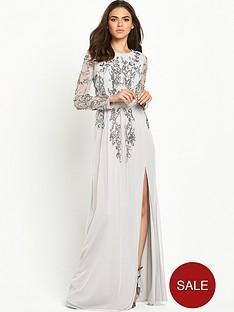 maya-backless-embellished-long-sleeve-maxi-dress-grey