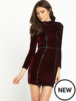 rare-long-sleeve-high-neck-velvet-dress