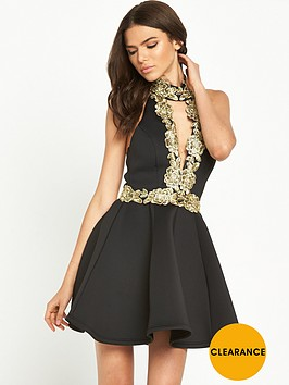 rare-high-neck-rose-embroidered-dress-blackgold