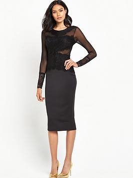 ax-paris-crochetnbspfront-panel-bodycon-dress-black