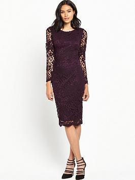 ax-paris-long-sleeve-crochet-dress-plum