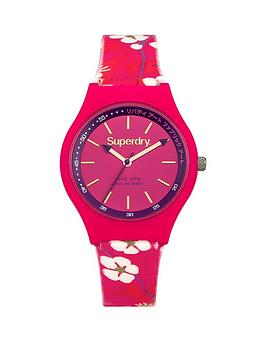 superdry-superdry-urban-liberty-pink-dial-pink-flower-printed-silicone-fabric-strap-ladies-watch