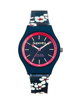 superdry-superdry-urban-liberty-navy-dial-navy-flower-printed-silicone-fabric-strap-ladies-watch