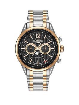 roamer-roamer-superior-business-multifunction-black-dial-silver-rose-gold-bracelet-mens-watch