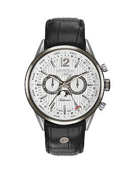 roamer-roamer-superior-business-multifunction-white-dial-black-leather-strap-mens-watch