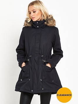 lost-ink-faux-fur-trim-parka-black