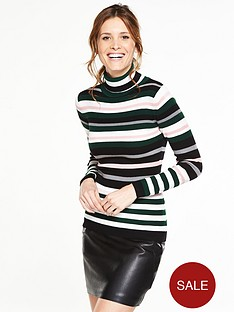 v-by-very-stripe-skinny-rib-roll-neck-jumper
