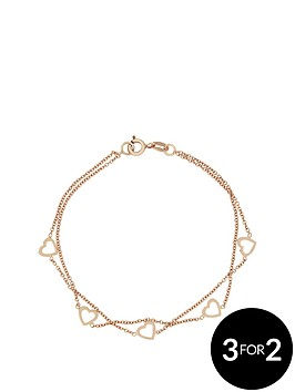 love-silver-sterlingnbspsilver-with-rose-gold-plating-2-row-heart-bracelet