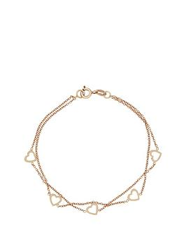 the-love-silver-collection-sterlingnbspsilver-with-rose-gold-plating-2-row-heart-bracelet