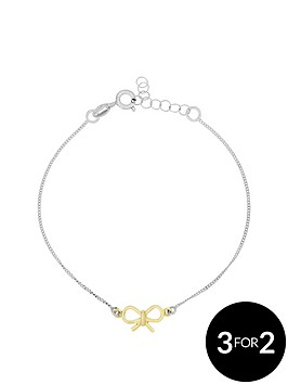 love-silver-sterlingnbspsilver-gold-plated-bow-bracelet