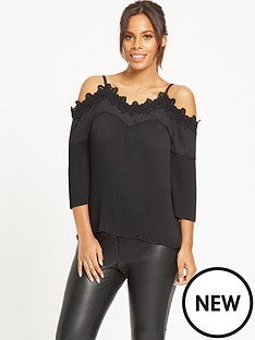 rochelle-humes-lace-panel-pleated-top-black
