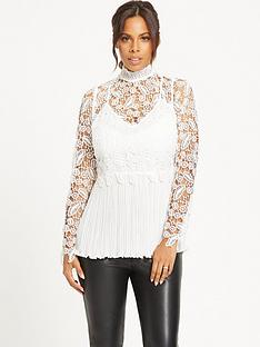 rochelle-humes-guipure-amp-lace-plisse-pleated-top-white