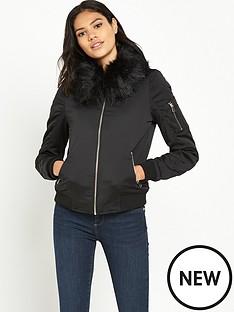 river-island-faux-fur-collar-bomber-jacket
