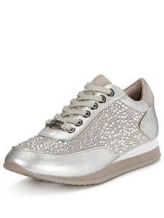 carvela-lemmy-silver-trainer