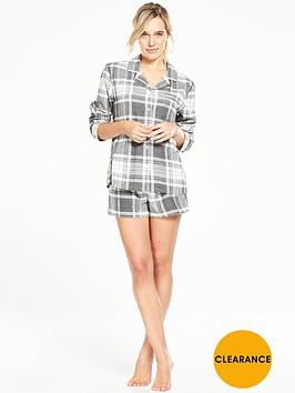 v-by-very-check-button-through-shirt-and-short-pyjama-set