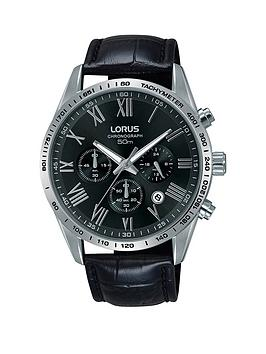 lorus-black-dial-chronograph-black-leather-strap-mens-watch