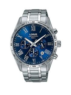 1600108699: Lorus Lorus Blue Dial Chronograph Stainless Steel Bracelet Mens Watch