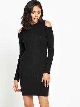 river-island-knitted-cold-shoulder-dress