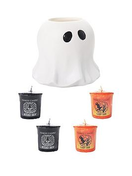 yankee-candle-halloween-ghost-votive-holder-and-set-of-4-votives